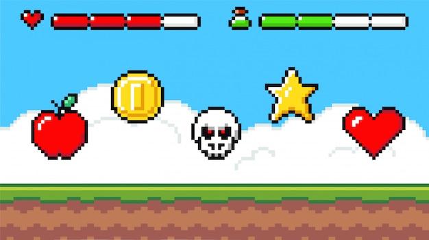 Escena de juego de pixel art con plataforma de césped y valiosos premios importantes para el jugador