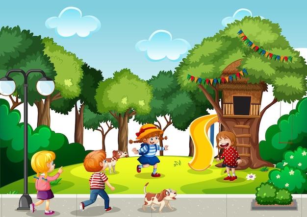 Escena de juegos con muchos niños.