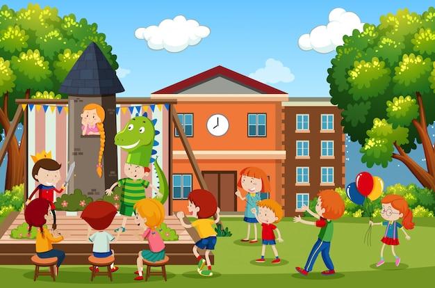 Una escena de juegos para niños.