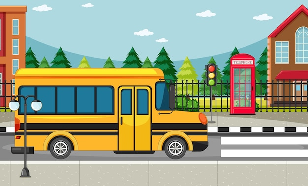 Escena del lado de la calle con autobús escolar en la escena de la carretera
