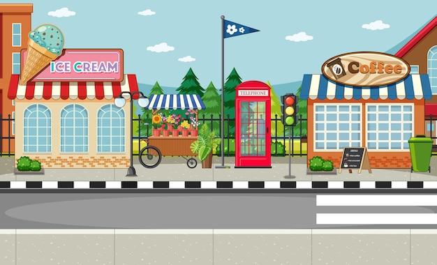 Escena del lado de la calle con escena de heladería y cafetería