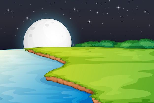 Escena del lado del río con luna grande en la noche