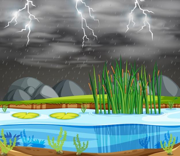 Una escena del lago tormenta