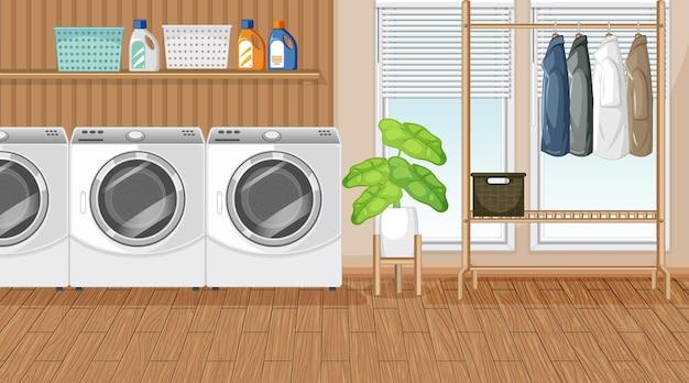 Escena de lavandería con lavadora y perchero.