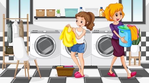 Escena de lavandería con personaje de dibujos animados de dos mujeres