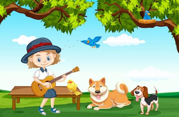 Escena con linda chica y muchas mascotas en el parque
