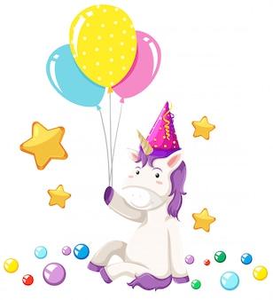 Escena linda fiesta unicornio