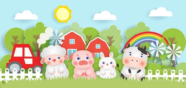 Escena con lindos animales de granja en el estilo de corte de papel de granja.