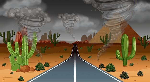 Escena de la lluvia del desierto del tornado