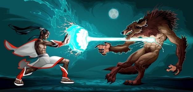Escena de lucha entre elfo y el hombre lobo