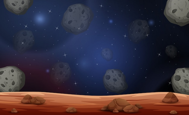 Escena de la luna con ilustración de asteroides