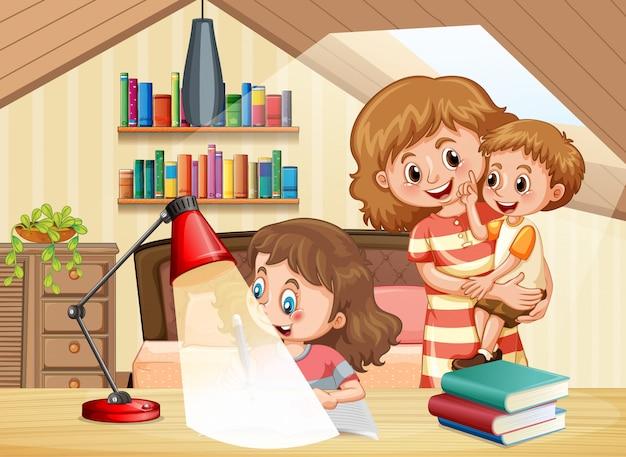 Escena con madre e hijos en casa.