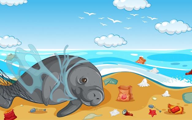 Escena con manatíes y bolsas de plástico en la playa.
