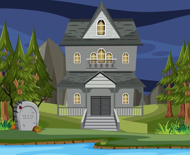 Escena con mansión de halloween embrujada.