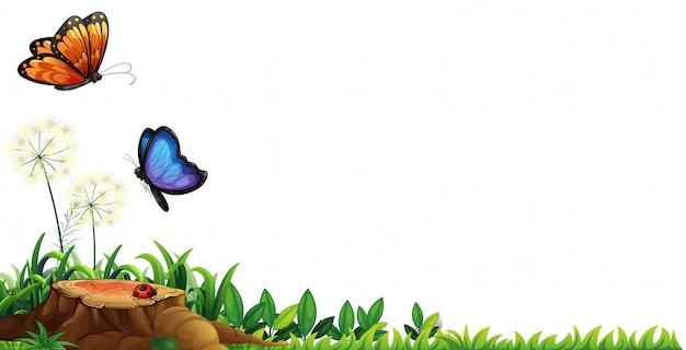 Escena con mariposas en el jardín.