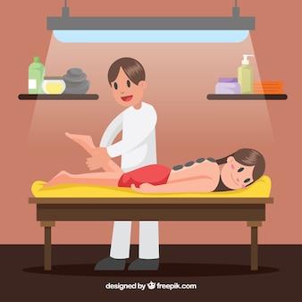 Escena de masajista en un spa