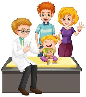 Escena con médico y niña haciendo chequeo de salud