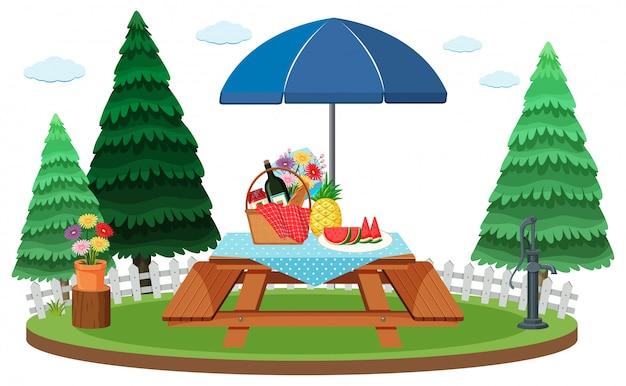 Escena con mesa de picnic en el parque