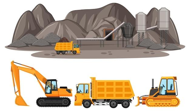 Escena de minería de carbón con diferentes tipos de camiones de construcción.