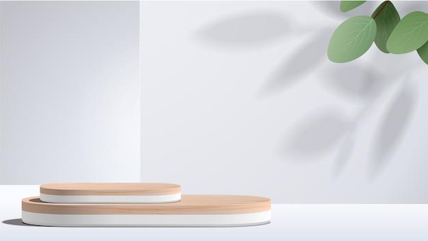 Escena mínima abstracta con formas geométricas. podio blanco con hojas. presentación de productos, exhibición de productos cosméticos, podio, pedestal o plataforma de escenario.