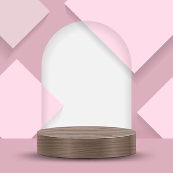 Escena mínima abstracta sobre fondo pastel con podio de cilindro y hojas. escaparate de escenario para producto