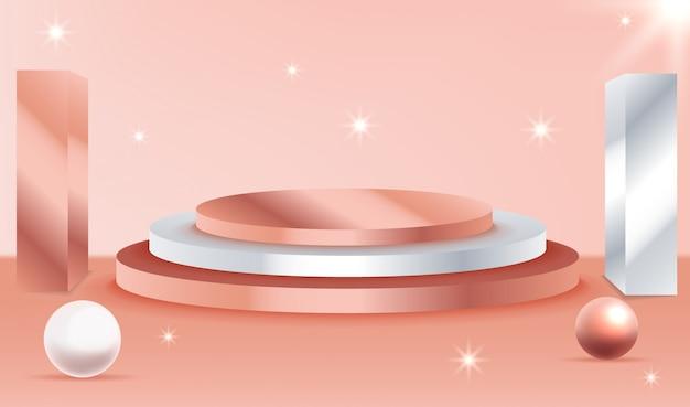 Escena mínima con fondo de podios de formas geométricas. escena para mostrar producto cosmético.