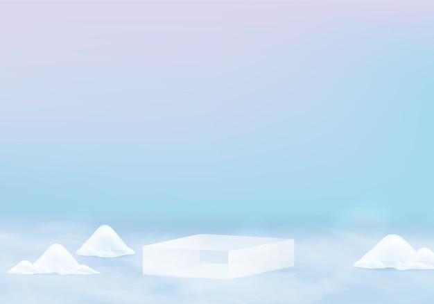 Escena mínima de nieve brillante de navidad caída con plataforma de invierno de pedestal. pedestal vacaciones de invierno hielo nieve fondo renderizado con podio. stand para mostrar el producto. el invierno es escenario