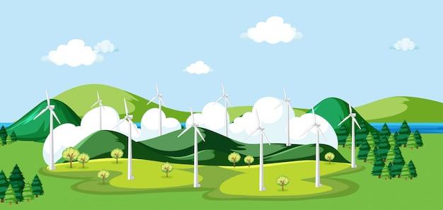 Escena con molino de viento en el campo
