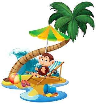 Escena con mono sentado en la playa sobre fondo blanco.