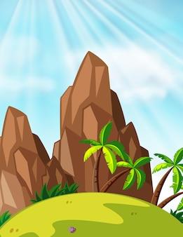 Escena con montañas y cocoteros.
