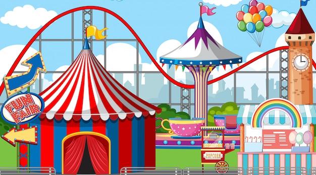Escena con muchas atracciones de circo durante el día.