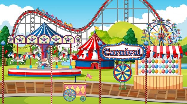Escena con muchas atracciones de circo en la ilustración del parque
