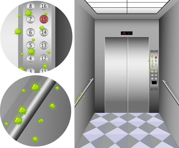 Escena con muchas células de coronavirus en botones en elevador