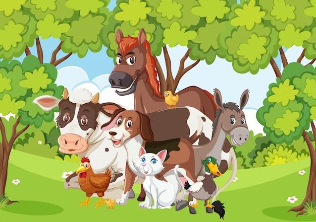 Escena con muchos animales salvajes en el bosque.