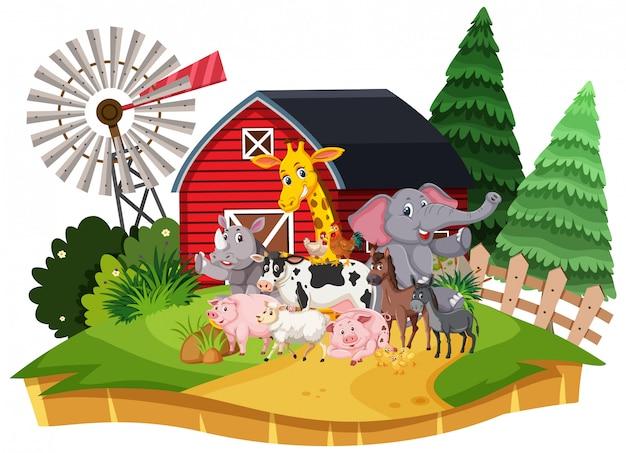 Escena con muchos animales salvajes en la granja.