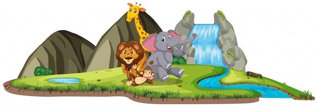 Escena con muchos animales salvajes junto a la cascada en blanco