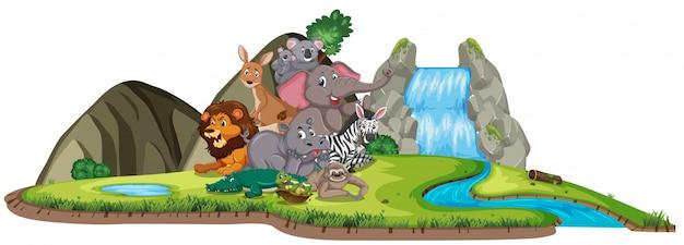 Escena con muchos animales salvajes junto a la cascada.