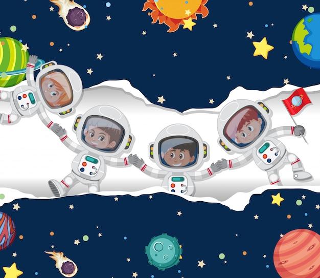Escena con muchos astronautas en el fondo del espacio