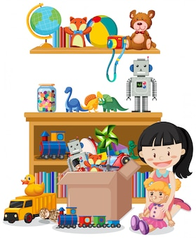 Escena con muchos juguetes en el estante y niña jugando muñeca