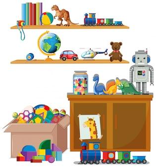 Escena con muchos juguetes en los estantes.
