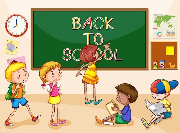 Escena con muchos niños aprendiendo en la escuela
