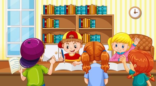 Escena con muchos niños haciendo la tarea en casa.