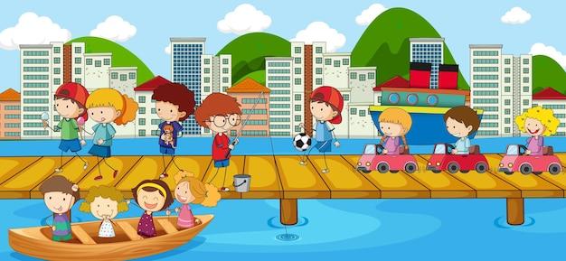 Escena con muchos personajes de dibujos animados de niños garabatos en el puente que cruza el río