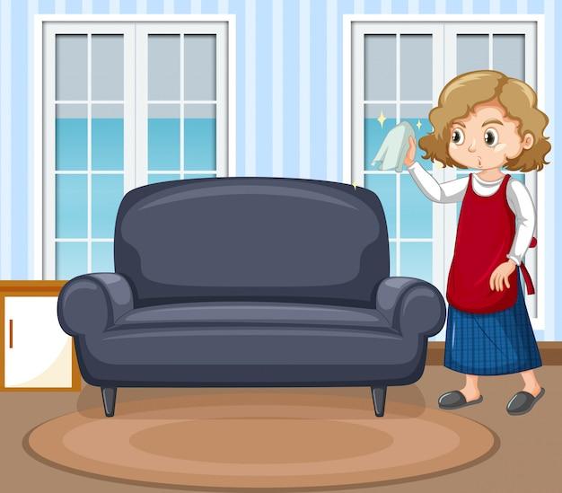 Escena con mujer limpiando ventanas en casa
