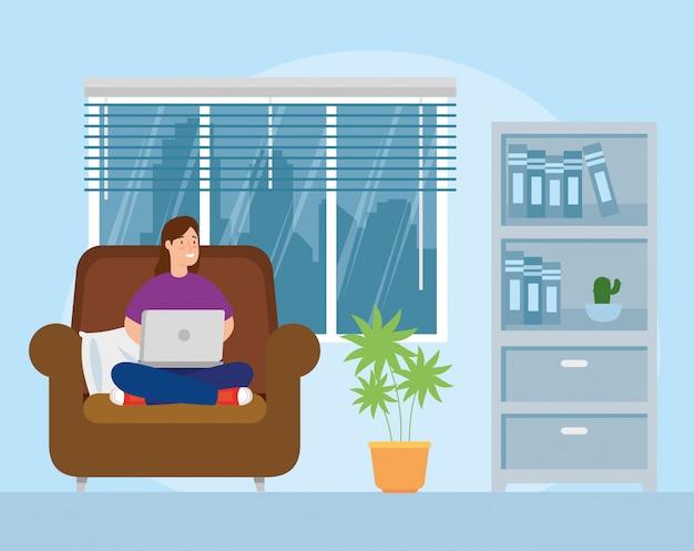 Escena de mujer trabajando en casa en la sala de estar