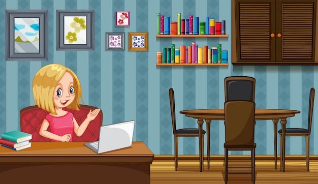 Escena con mujer trabajando en casa.
