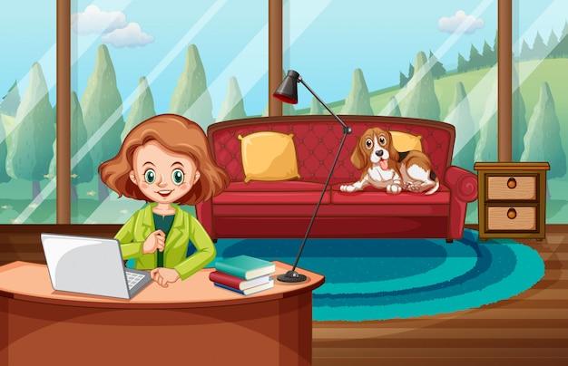 Escena con mujer trabajando en la computadora en casa