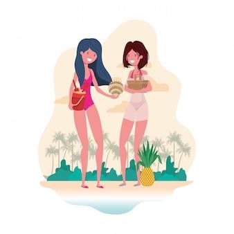 Escena de mujeres en la playa con cesta de picnic.
