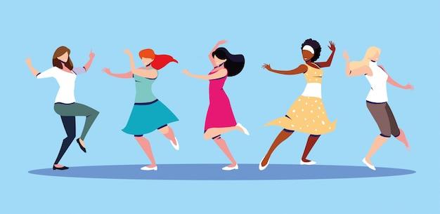 Escena de mujeres en pose de baile