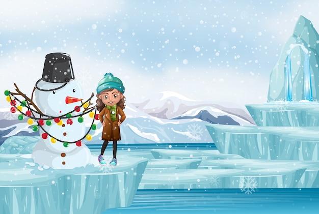 Escena con muñeco de nieve y niña
